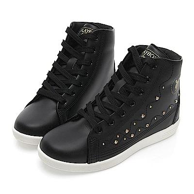 PLAYBOY 晶鑽高筒內增高休閒鞋-黑-Y5222CC