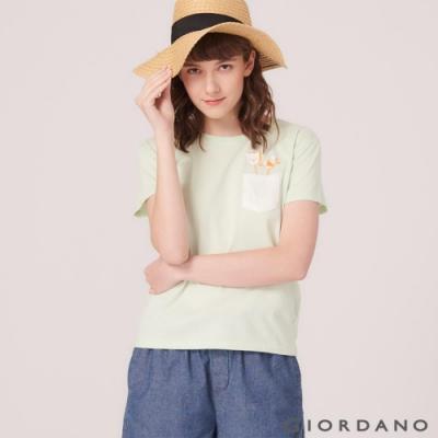 GIORDANO 女裝DEAR WORLD 系列純棉印花口袋T恤-12 淺綠