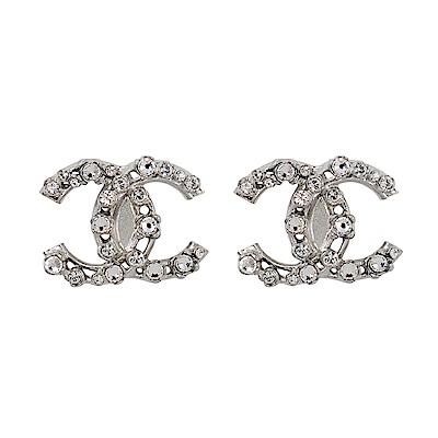 CHANEL香奈兒 經典雙C LOGO 鑲嵌立體大小水鑽銀色耳環