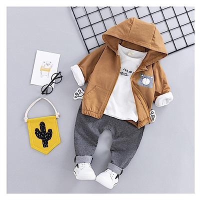 【韓品童裝】男童 中小童三件組小熊長袖外套褲套裝-二色可選