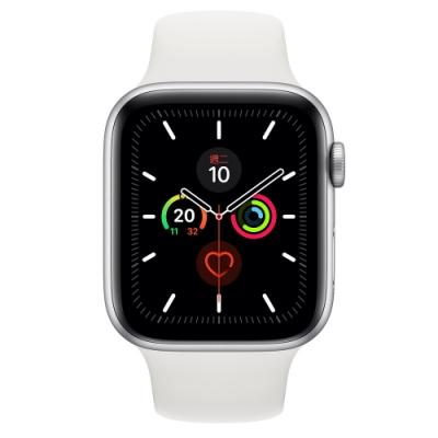 Apple Watch Series 5(GPS+網路)44mm銀色鋁金屬錶殼+白色錶帶