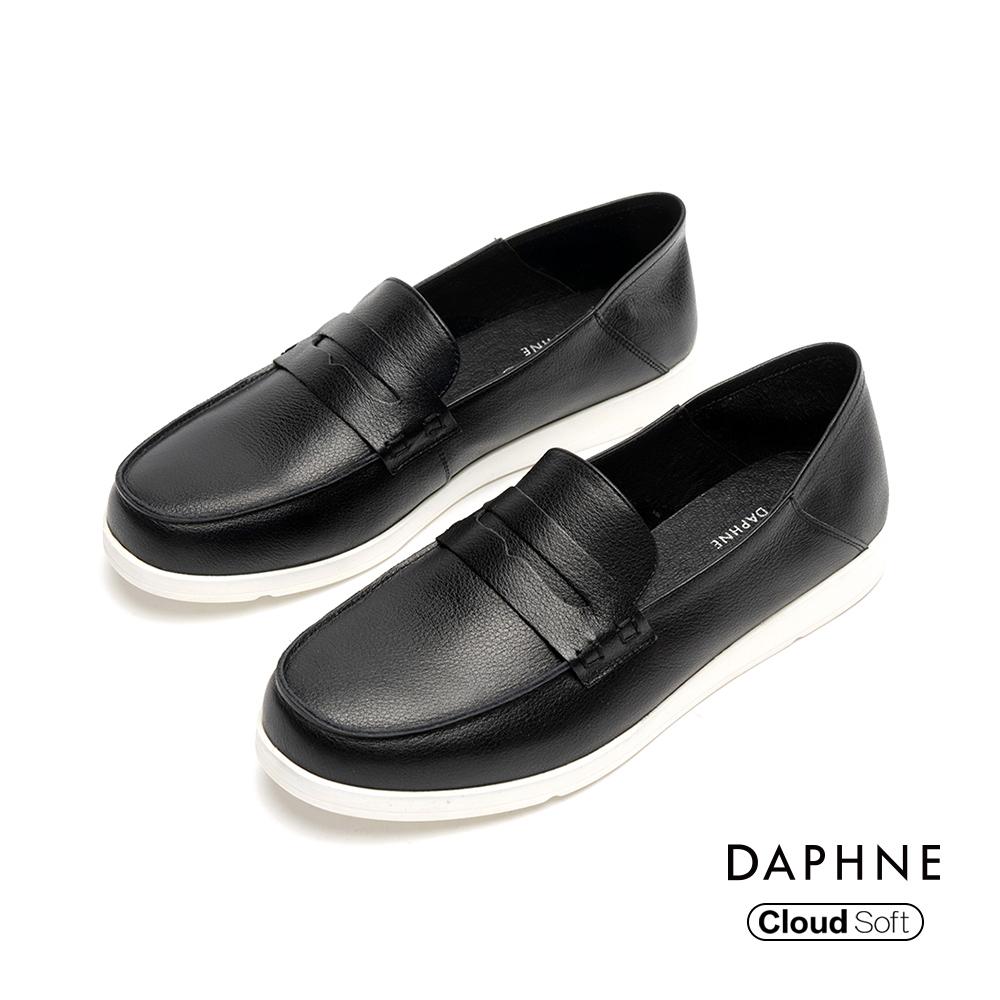 達芙妮DAPHNE 樂福鞋-質感真皮休閒樂福鞋-黑