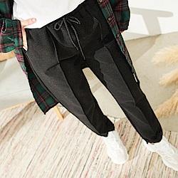 慢 生活 鬆緊腰挺闊西裝版長褲-黑色