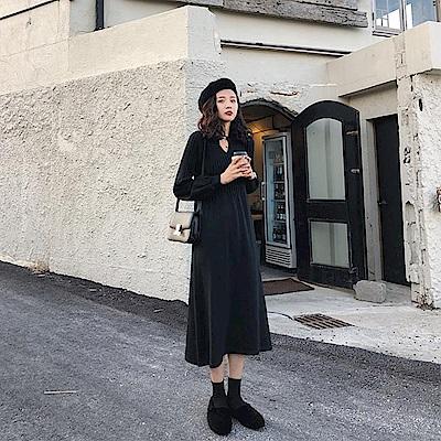 燈籠袖舒適針織連身裙-2色-TMH