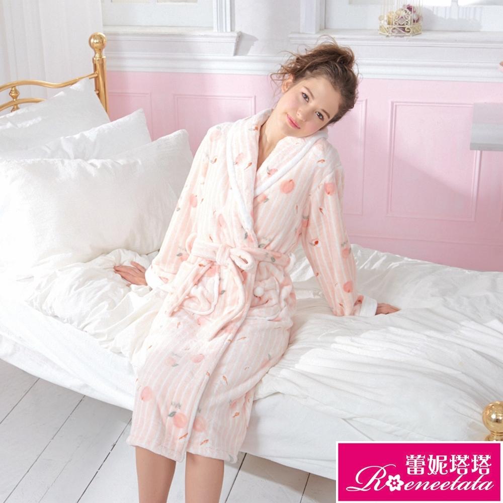 睡衣 戀戀水蜜桃極暖超柔軟水貂絨女性長袖睡袍(R89230-15粉)