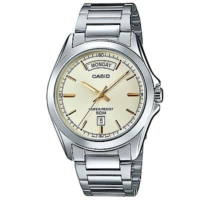 CASIO 經典復古設計指針不鏽鋼日曆腕錶 (MTP-1370D-9)淡黃面/40mm