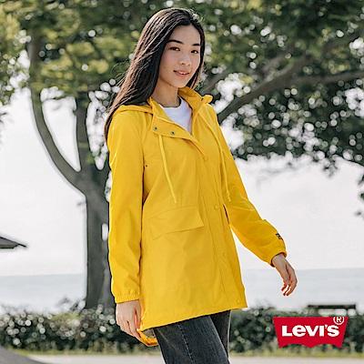 Levis 女款 連帽外套 防水潑水風衣設計 黃