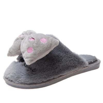 KEITH-WILL時尚鞋館 冬暖甜心室內拖鞋-灰色
