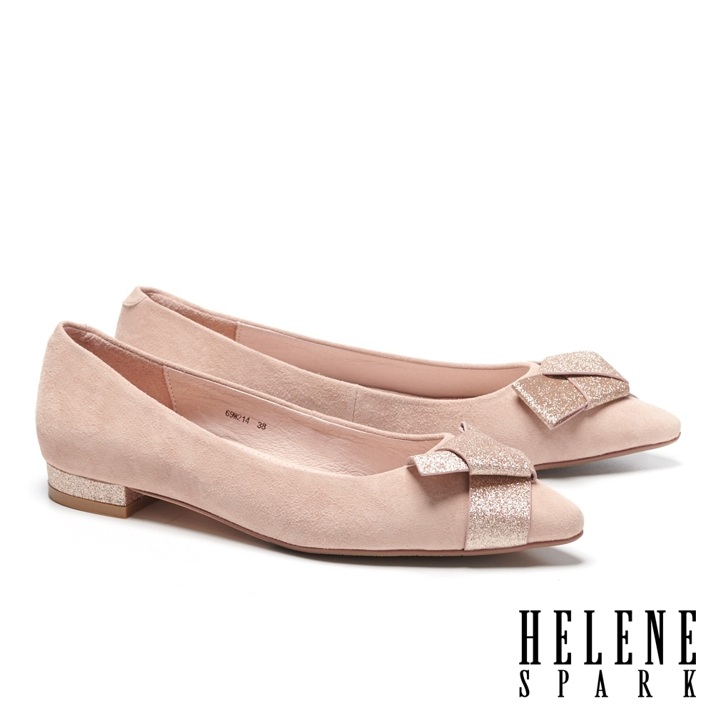 低跟鞋 HELENE SPARK 氣質時尚金蔥扭結羊麂皮尖頭低跟鞋-粉