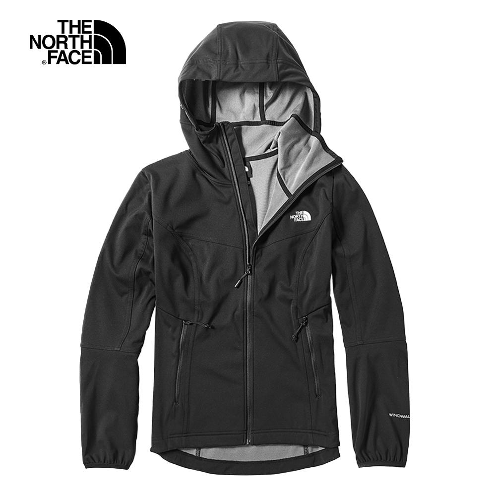 The North Face北面女款黑色防風防潑水戶外輕量風衣|3VTRJK3