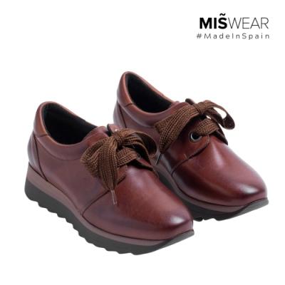 MARILA 牛皮緞帶休閒鞋-深棕