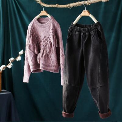 黑色水洗燈芯絨拼接加絨牛仔褲寬鬆長褲-設計所在