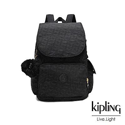 Kipling黑色幾何紋路拉鍊掀蓋後背包-CITY PACK