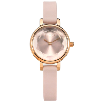 rumba time 紐約品牌 小巧細緻 切割玻璃鏡面 矽膠手錶-粉x玫瑰金框/23mm