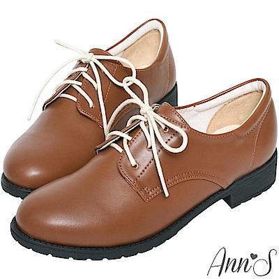 Ann'S學院氛圍-素色QQ軟底綁帶平底牛津鞋-棕(版型偏小)