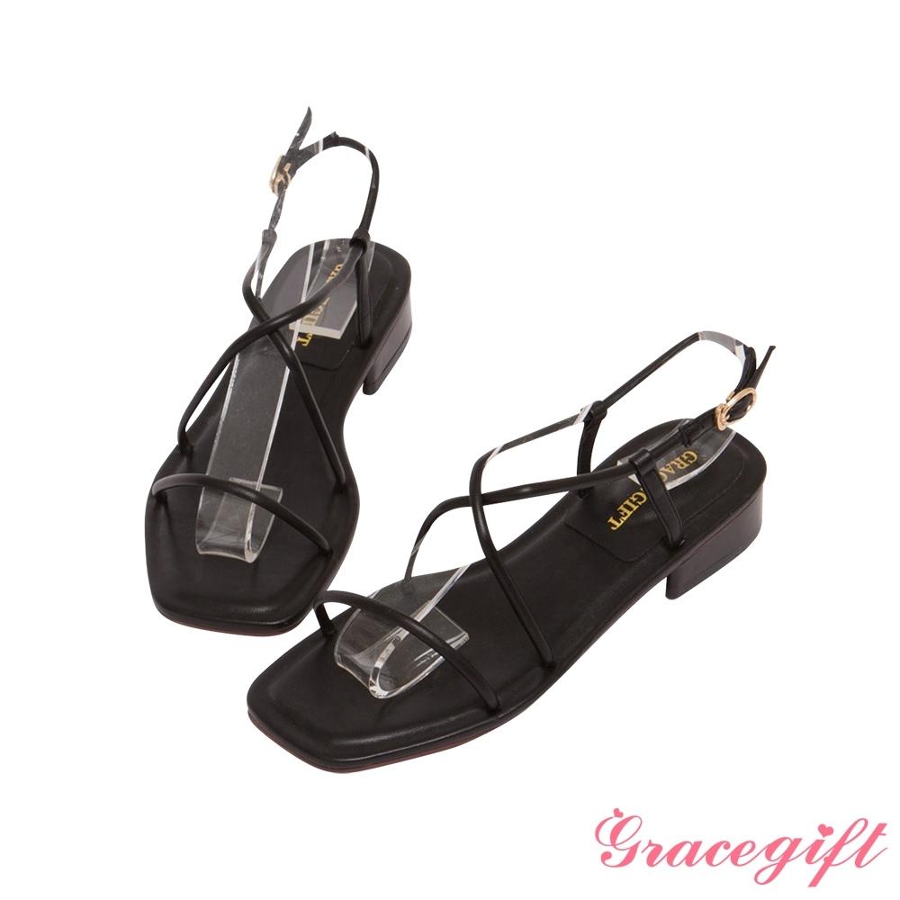 Grace gift-一字交叉繫踝低跟涼鞋 黑