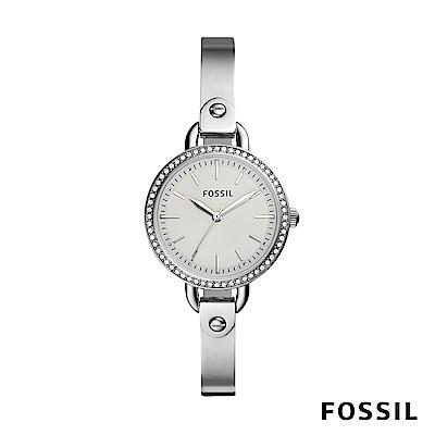 FOSSIL Classic Minute 銀色鑲鑽不銹鋼鍊錶 32mm BQ3162