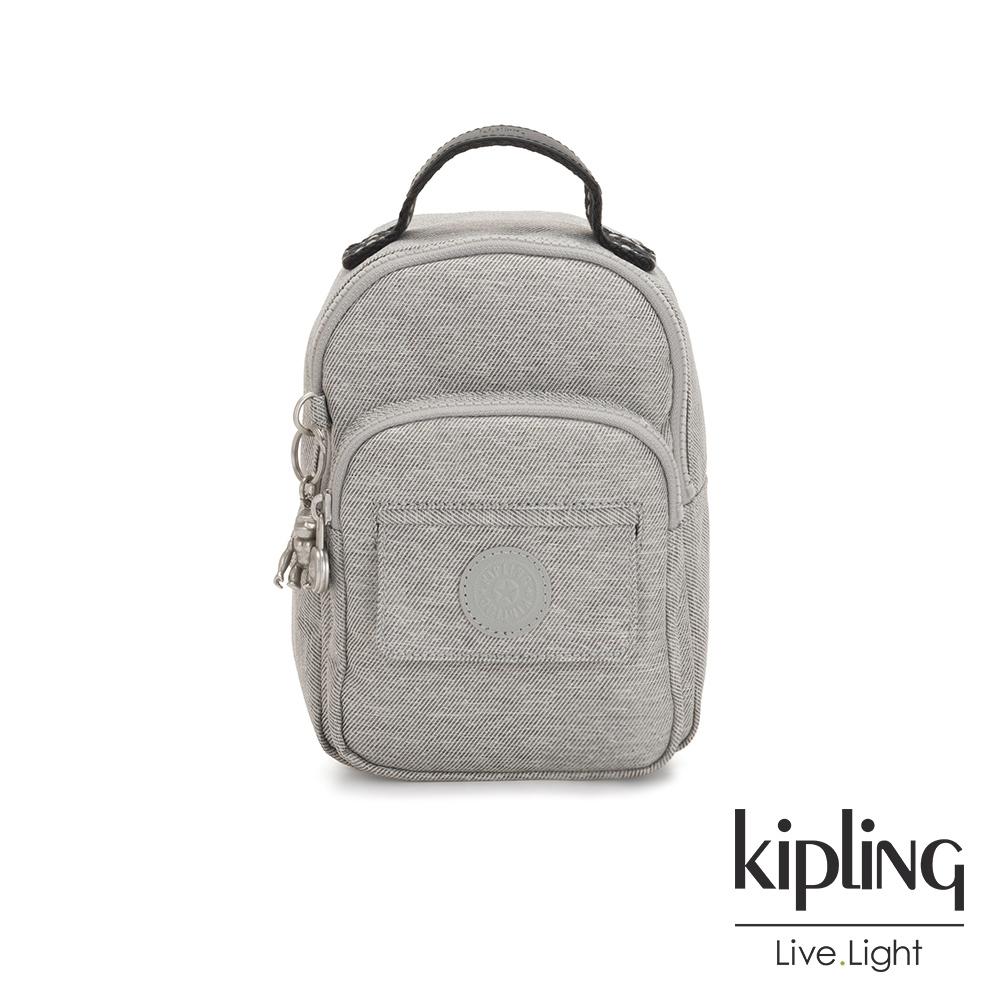 Kipling 清新柔和丹寧灰三用隨身背包-ALBER