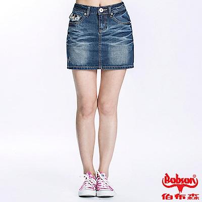 BOBSON 女款蕾絲繡花牛仔短裙(藍D092-53)