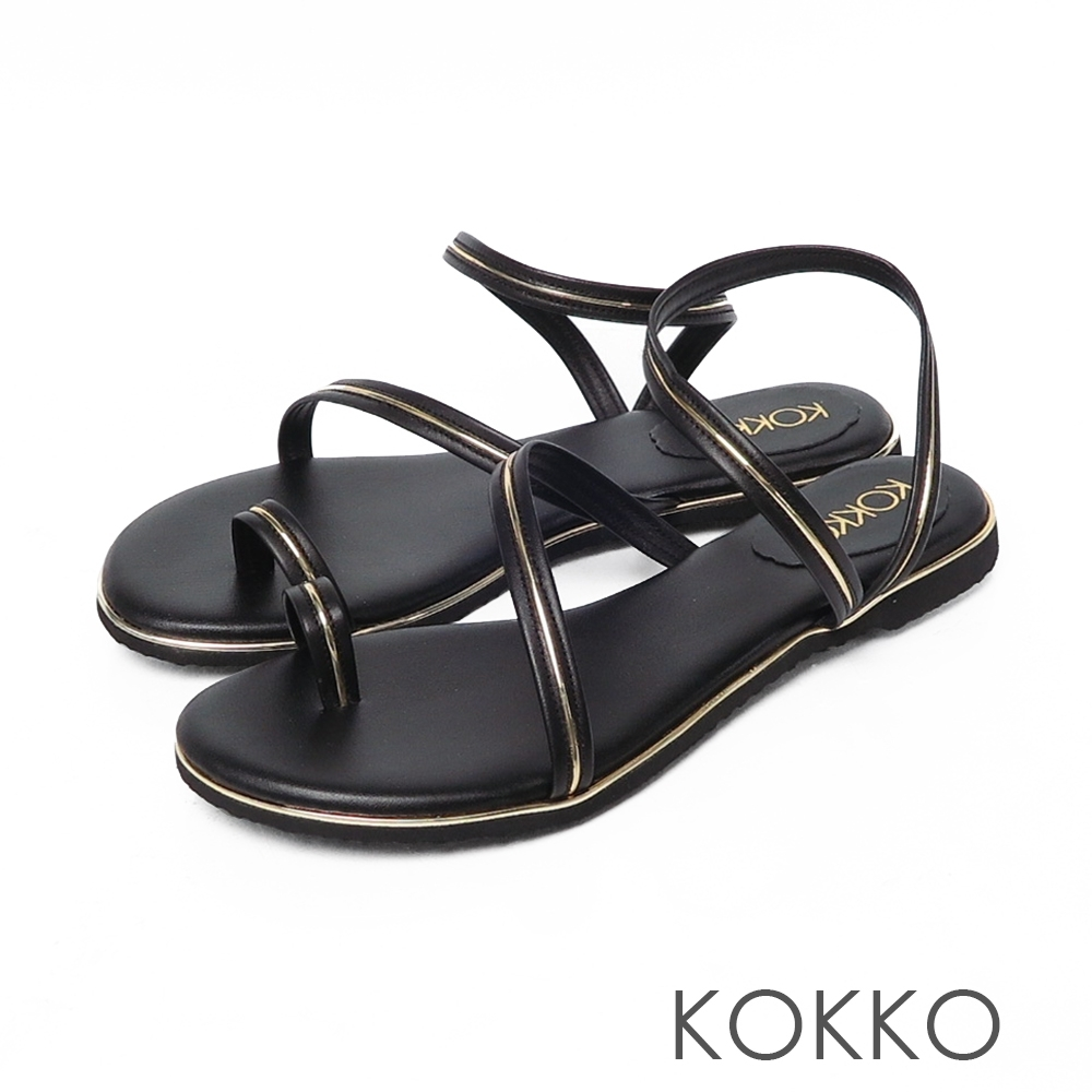 KOKKO曲線細帶牛皮平底夾腳涼鞋 黑咖啡