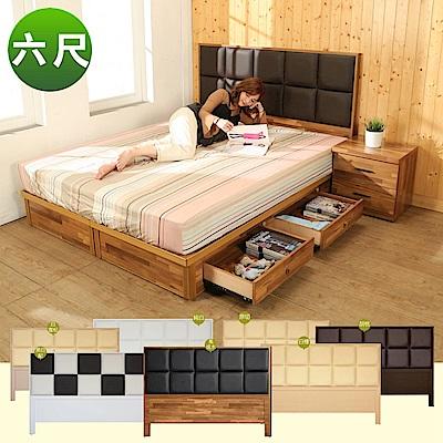 BuyJM雙人加大6尺皮革床頭片+4抽床底2件式房間組(7色)-免組