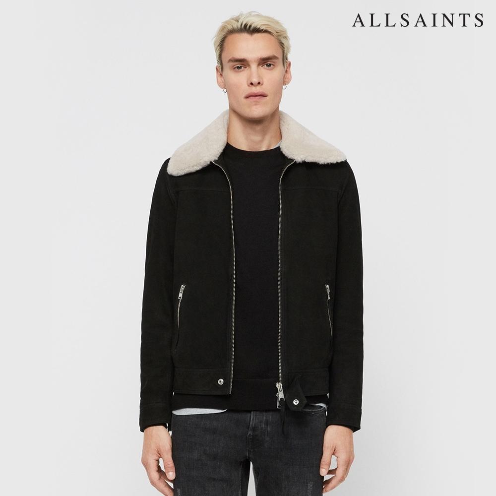 ALLSAINTS LOCK 時尚簡約可拆式羊毛領羊皮皮衣外套-黑