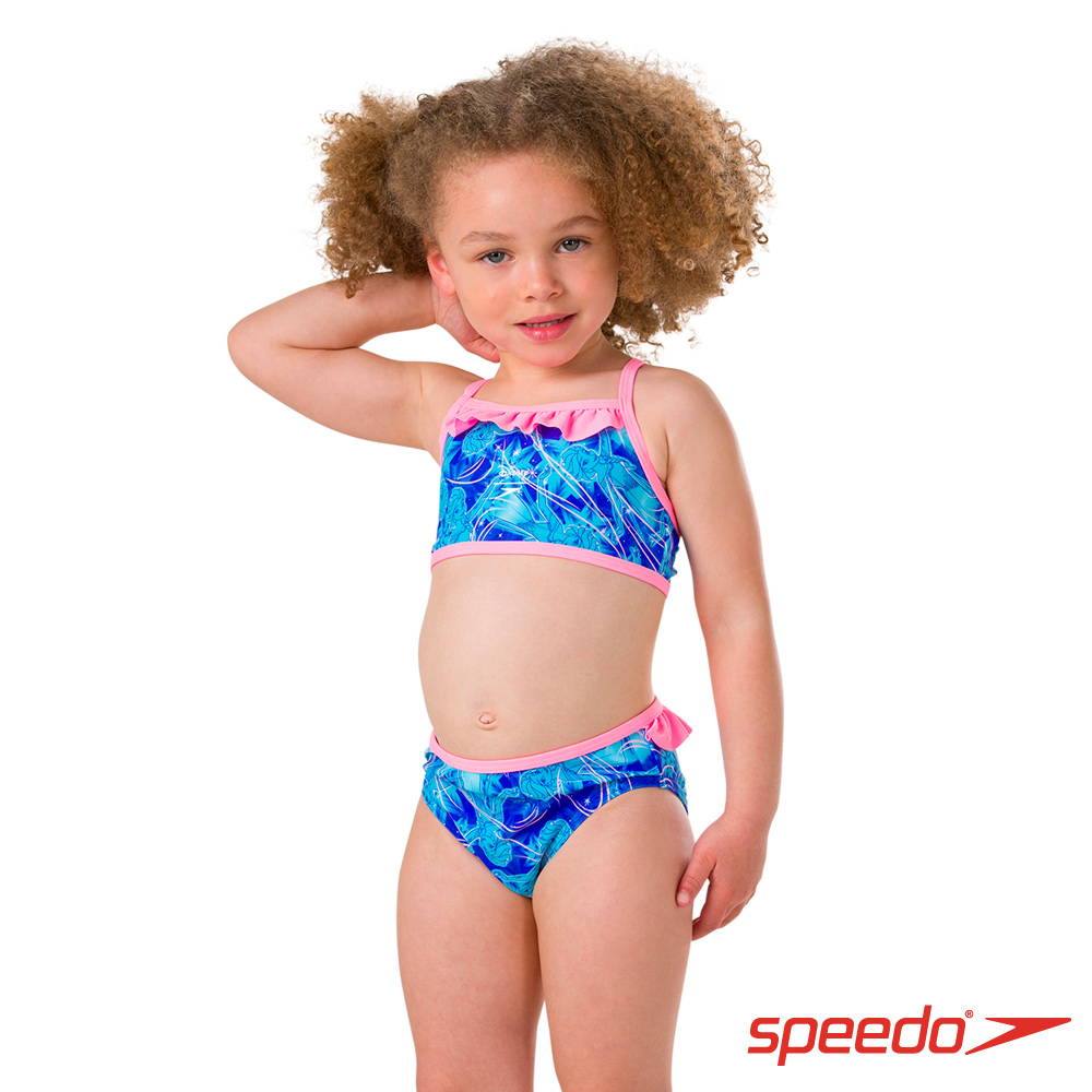 SPEEDO 女童 休閒兩截泳裝 冰雪奇緣 粉藍