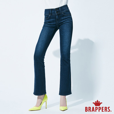 BRAPPERS 女款 新美尻系列-彈性W刺繡鑲鑽喇叭褲-藍