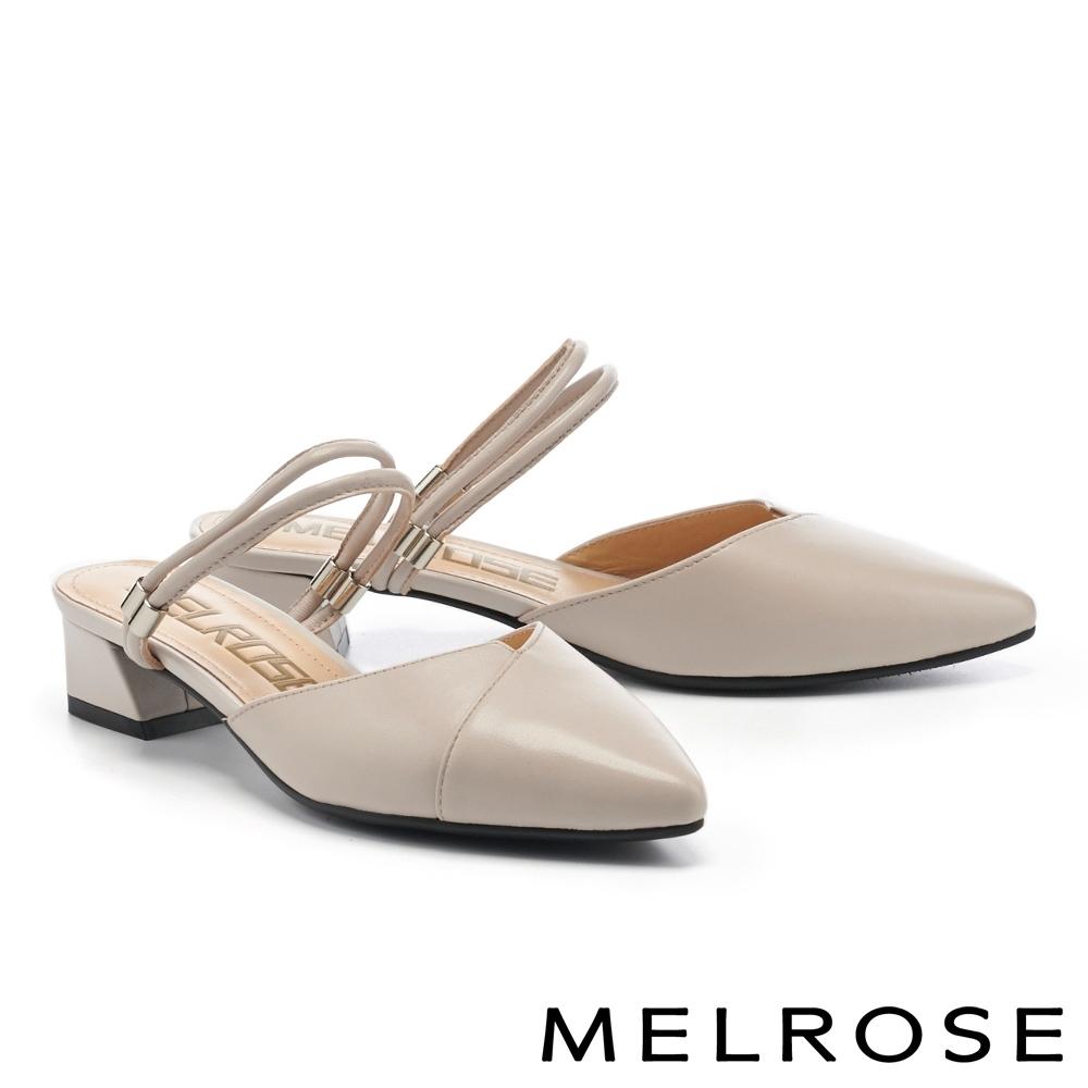 穆勒鞋 MELROSE 素雅氣質純色兩穿式羊皮尖頭繫帶低跟穆勒拖鞋-灰
