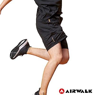 【AIRWALK】男款剪接運動短褲-黑色