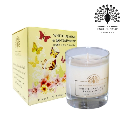 The English Soap Company 綴花卉香氛蠟燭-茉莉檀香 White Jasmine and Sandalwood 170g