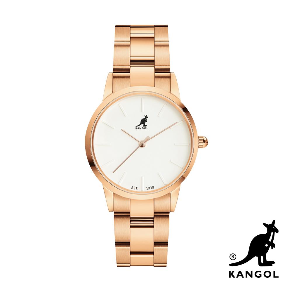 KANGOL 浮雕鋼鍊錶36mm-白面金 KG714369