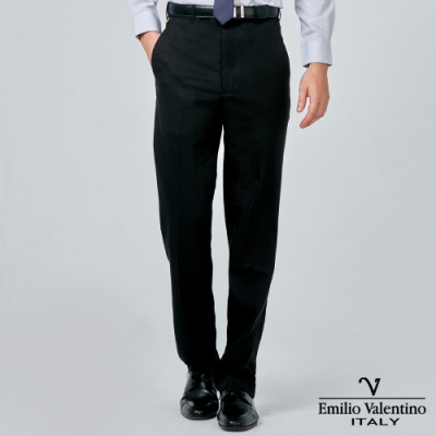 Emilio Valentino 范倫提諾彈力平面西褲-黑