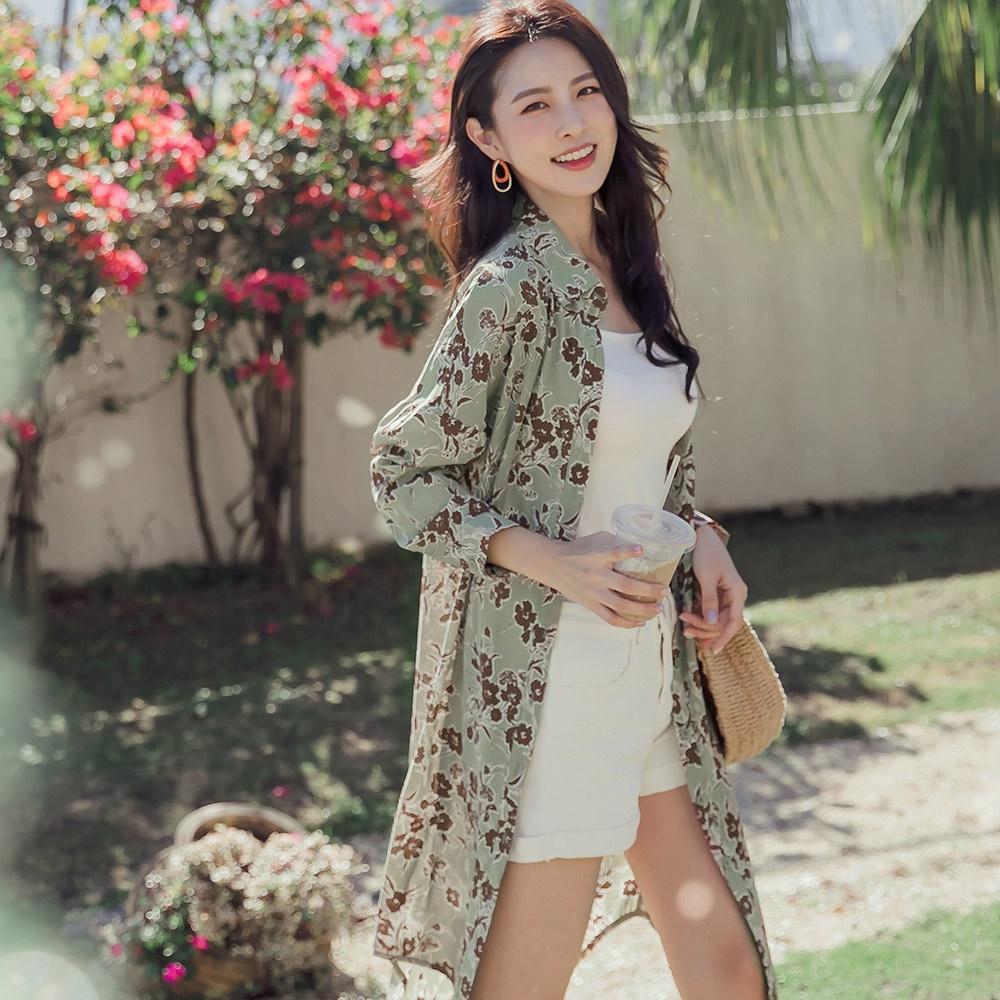 優雅復古印花腰綁帶長版襯衫洋裝/罩衫-OB嚴選