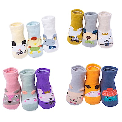 短襪童襪嬰兒襪子 立體兒童卡通防滑襪-6入