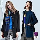 ILEY伊蕾 100%羊毛修身小立領大衣(黑/藍)