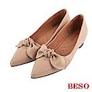BESO 清甜女孩 蝴蝶結內增高尖頭鞋~粉紅