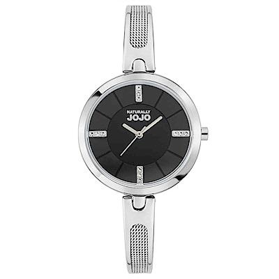 NATURALLY JOJO 幸福雙重奏腕錶-銀x黑/30mm