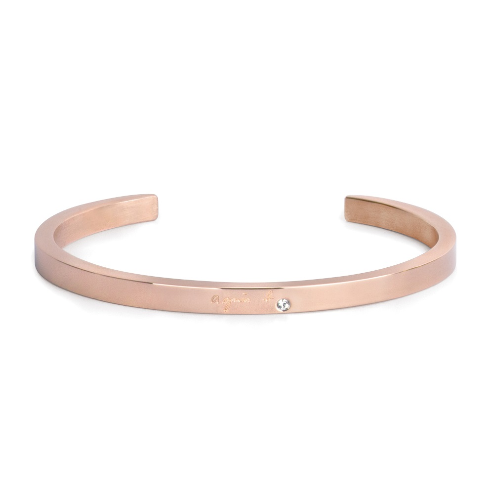 agnes b. Logo基本款女性手環(玫瑰金)(情侶對環)