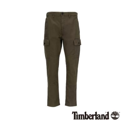 Timberland 男款軍綠色彈力防撕裂斜紋布拼接工裝褲|A1YJ9