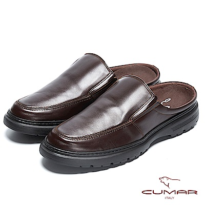 CUMAR 舒適真皮 嚴選舒適大底後空式皮鞋-咖啡