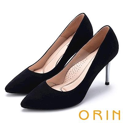 ORIN 簡約時尚名媛 真皮典雅素面高跟鞋-絨黑