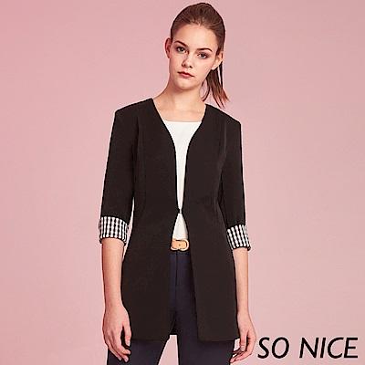 SO NICE簡約格紋拼接西裝外套