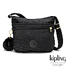 Kipling黑色幾何紋路前拉鍊側背包-ARTO