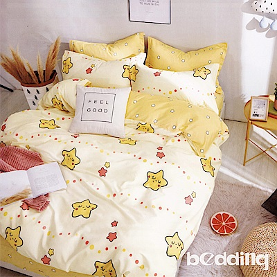 BEDDING-100%棉6尺加大雙人薄式床包三件組-那片星空-黃
