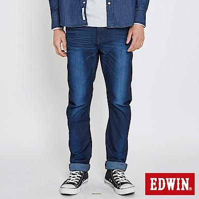 EDWIN JERSEYS 迦績立體剪接寬直筒牛仔褲-男-原藍磨