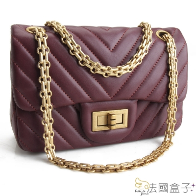 法國盒子 時尚復古V型紋鍊帶包(棗紅)