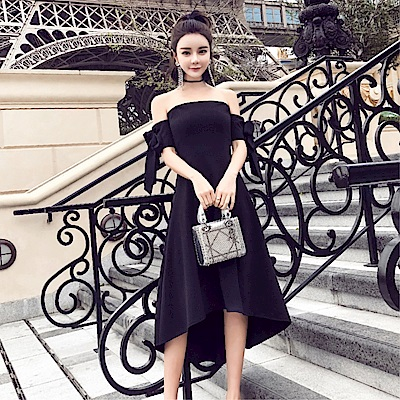 DABI 韓國風名媛氣質修身一字領蝴蝶結短袖洋裝