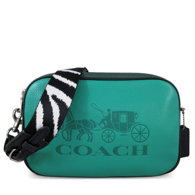 COACH 大馬車Logo荔枝紋全皮革斑馬紋寬帶雙層大相機包(復古綠)