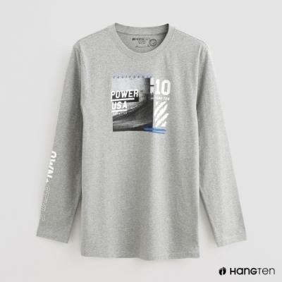 Hang Ten - 男裝 - 帥氣圖樣印花棉質圓領上衣- 灰